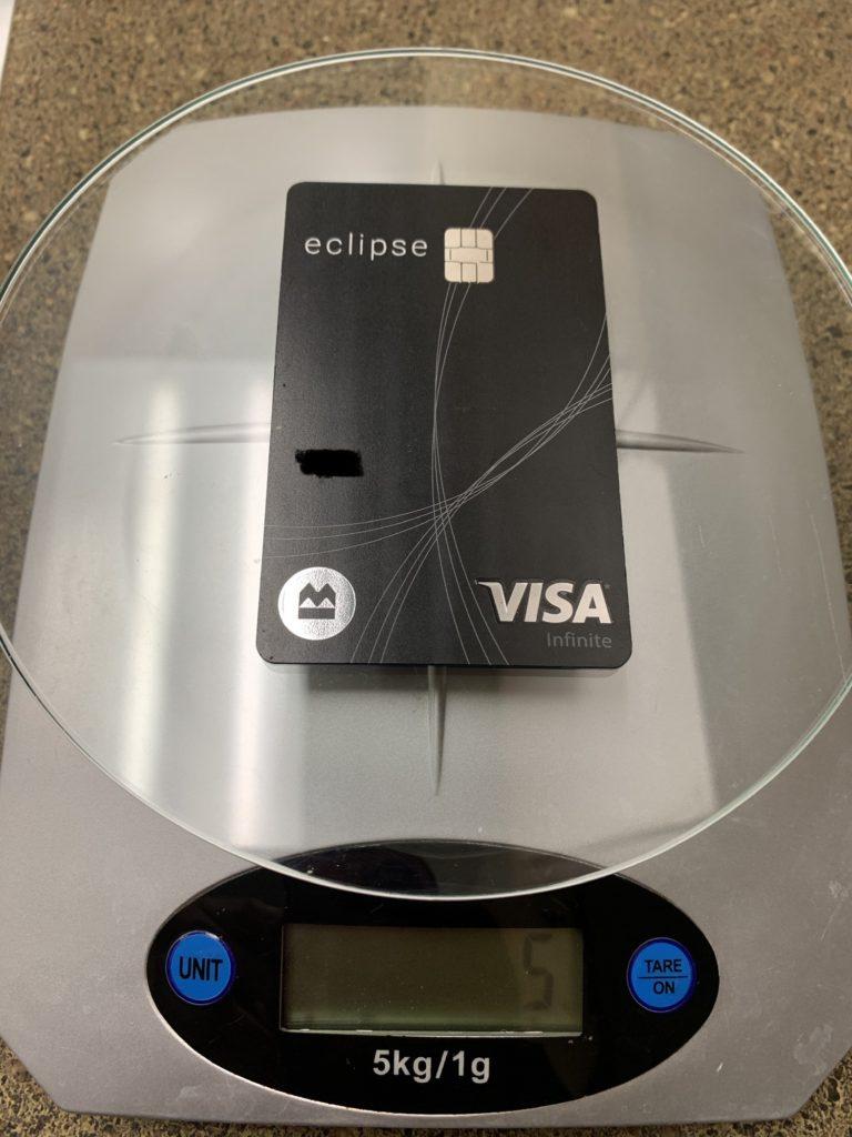 BMO eclipse Visa Infinite weight