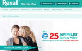 登记Rexall Flu Shot Alert Email可得25 Air Miles