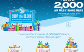 2018年12月27日前,最高2000 Miles奖励,Air Miles Shop the Block 2018活动
