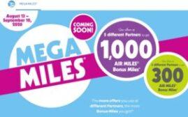 2020年9月10日前,Airmiles Mega-Miles优惠活动