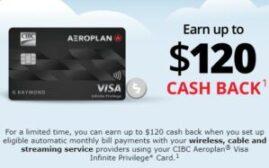 CIBC Aerogold信用卡优惠,付帐单返现 + 加航返现 + 油站加成(定向优惠)