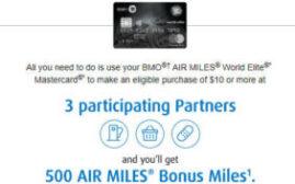 2018年9月30日前,在三家指定的商户消费$10或以上,可得额外500 Air Miles(定向优惠)