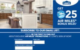 2018年11月30日前,注册Lowe's电子报可免费得25 Air Miles