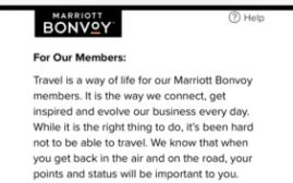 万豪Marriott Bonvoy再次推出积分延期和免房券延期的新政策