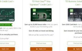 美国信用卡 - 加拿大居民如何申请美国TD Bank的几张信用卡